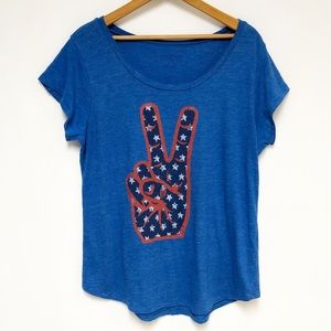 Lucky Brand USA Peace Sign Graphic T Shirt